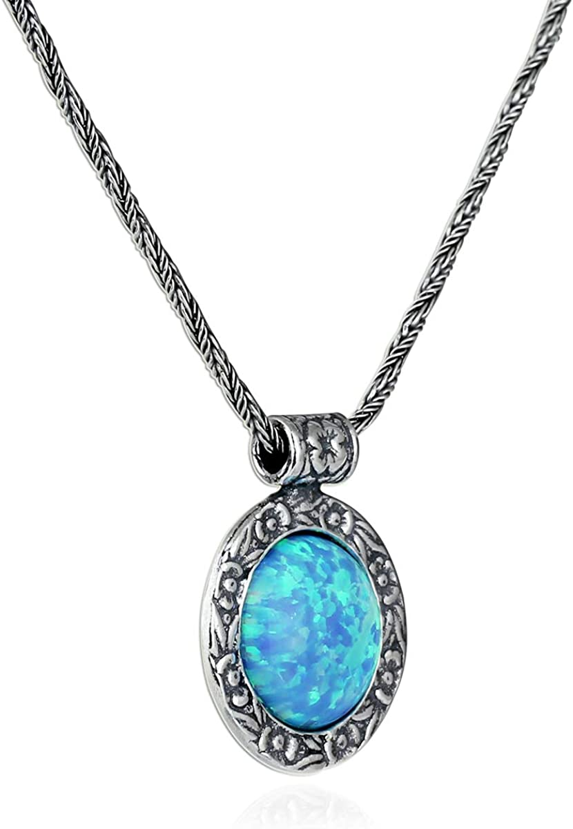 Huge High Quality Blue Fire Opal Inlay 925 Sterling Silver Pendant For Necklace