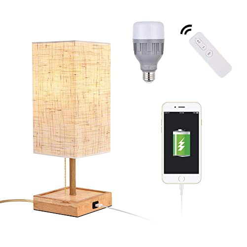 Ankee Smart Table Lamp Solid Wood nightstand Lamp with WiFi Smart LED Light Bulb and USB Charging Port, Desk lamp Work with Google Assistant or Amazon Alexa