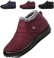 K&T Women Men Waterproof Snow Boots Slip on Winter Fur Lined Warm Ankle Boots Anti Slip Outdoor Walking Sneaker