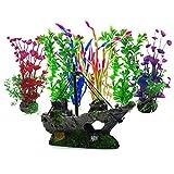 Artificial Aquatic Plants, 6 Pcs Aquarium Plants,1 Pcs Artificial Fish Tank Decoration Resin Plastic Ornament, Aquarium Artificial Plastic Plants Decor Aquarium Landscape