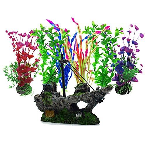 Artificial Aquatic Plants, 6 Pcs Aquarium Plants,1 Pcs Artificial Fish Tank Decoration Resin Plastic Ornament, Aquarium Artificial Plastic Plants Decor Aquarium Landscape… - Aquarium Decorations Shipwreck