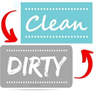 Newest! Clean Dirty Dishwasher Magnet Sign - Double Sided Strongest Magnet Flip with Metal Plate Universal Kitchen Dish Washer Reversible Indicator Magnets (Blue-Gray,)