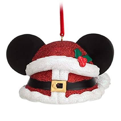382d045e24f87 Image Unavailable. Image not available for. Color  Disney Parks Exclusive Mickey  Mouse Ear Hat Santa Claus Red Glitter Christmas Ornament