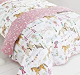 Kids Club Kids Decorative Over Floral Reverse Horse Girls Quilted Bed Throw, Pink