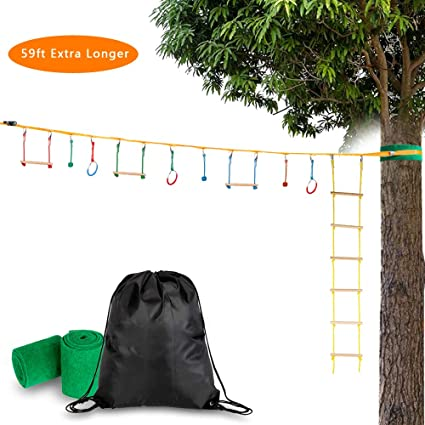 Amazon.com: Cosway 59FT Ninja Slackline Bar Kit Outdoor Tree ...