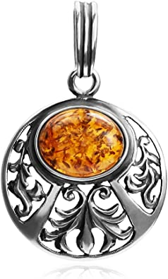 Ian and Valeri Co Amber Sterling Silver Round Star Pendant