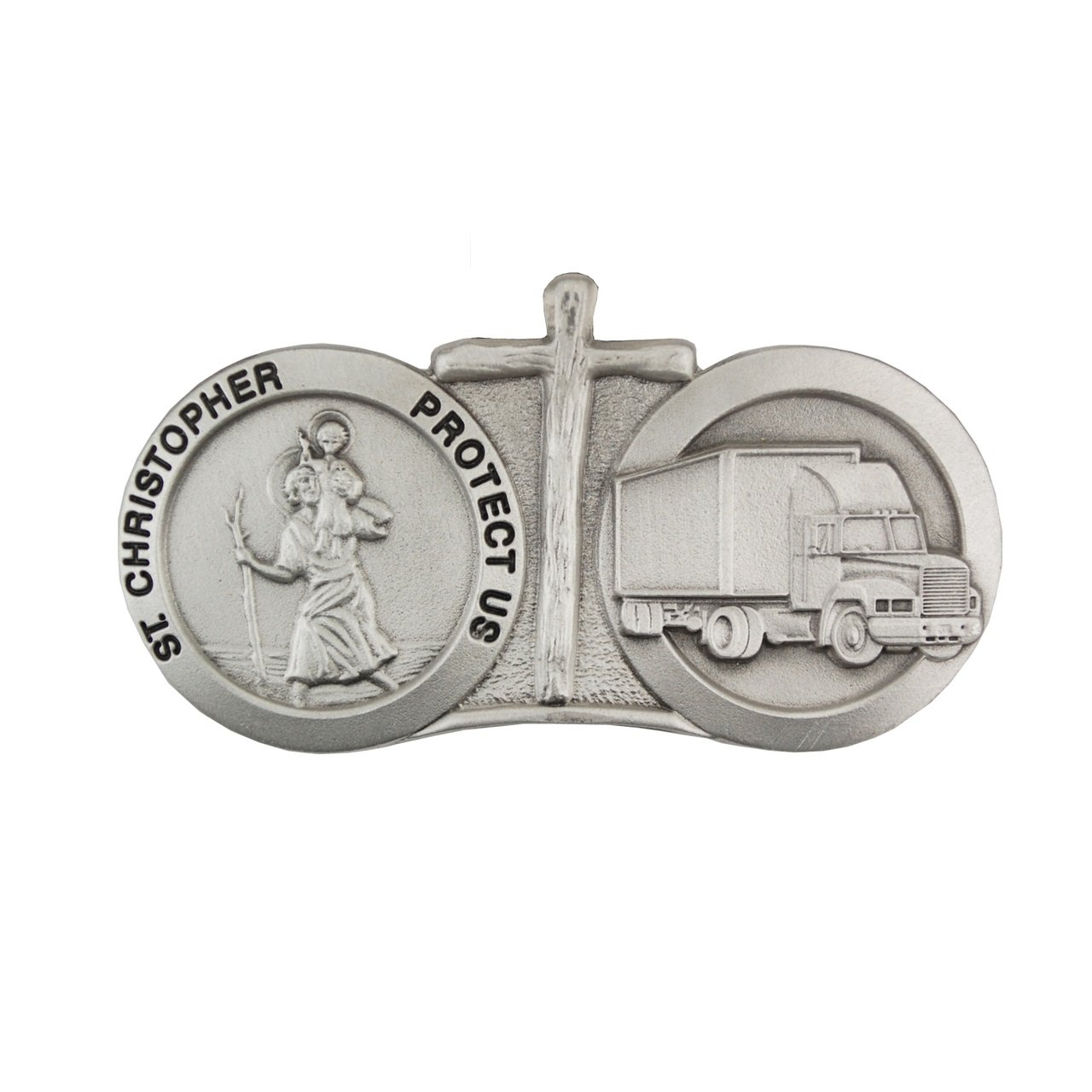 St Christopher Protect Us 18 Wheeler Trucker Truck Auto Visor Clip With Cross McVan VC910