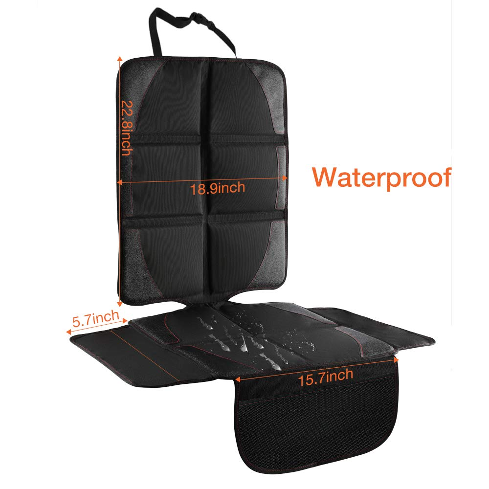 QUEES Car Seat Protector with Thickest Padding Updated Featuring Extra Size Waterproof 600D Fabric PVC Leather Reinforced Corners with 2 Large Pockets for Handy Storage