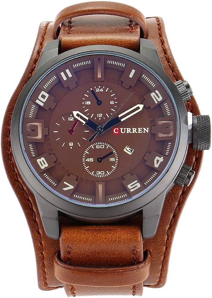 Curren - Reloj Deportivo de Cuarzo para Hombre, con Calendario, Correa de Piel