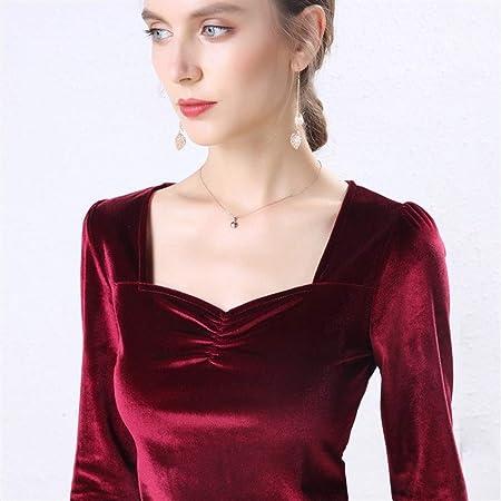 Lijincheng Camisa Blusa de Terciopelo Camisas de Mujer Manga Larga Cuello en V Básica Señora Cálida Vintage Blusas Femme Tops (Color : Red, Size : XL): Amazon.es: Hogar