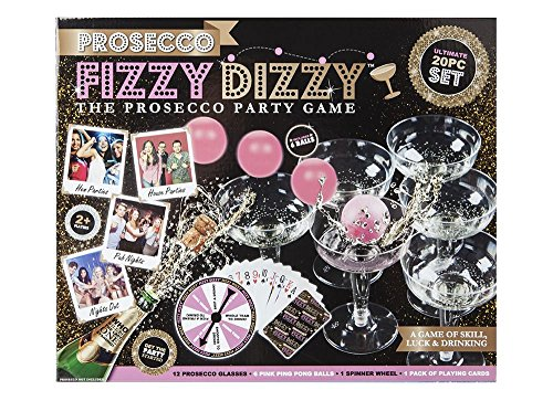 Prosecco Fizzy Dizzy Kit Party Game Of Skill, Luck & Drinking Ping Pong Glass by Pms