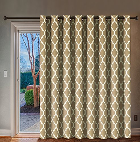 Pattern Door - H.VERSAILTEX Beautiful Quatrefoil Pattern Thermal Insulated Blackout Patio Curtains, Antique Grommet Decorative Sliding Door Curtain Panel, W100 x L84 inch-Taupe (Set of 1)