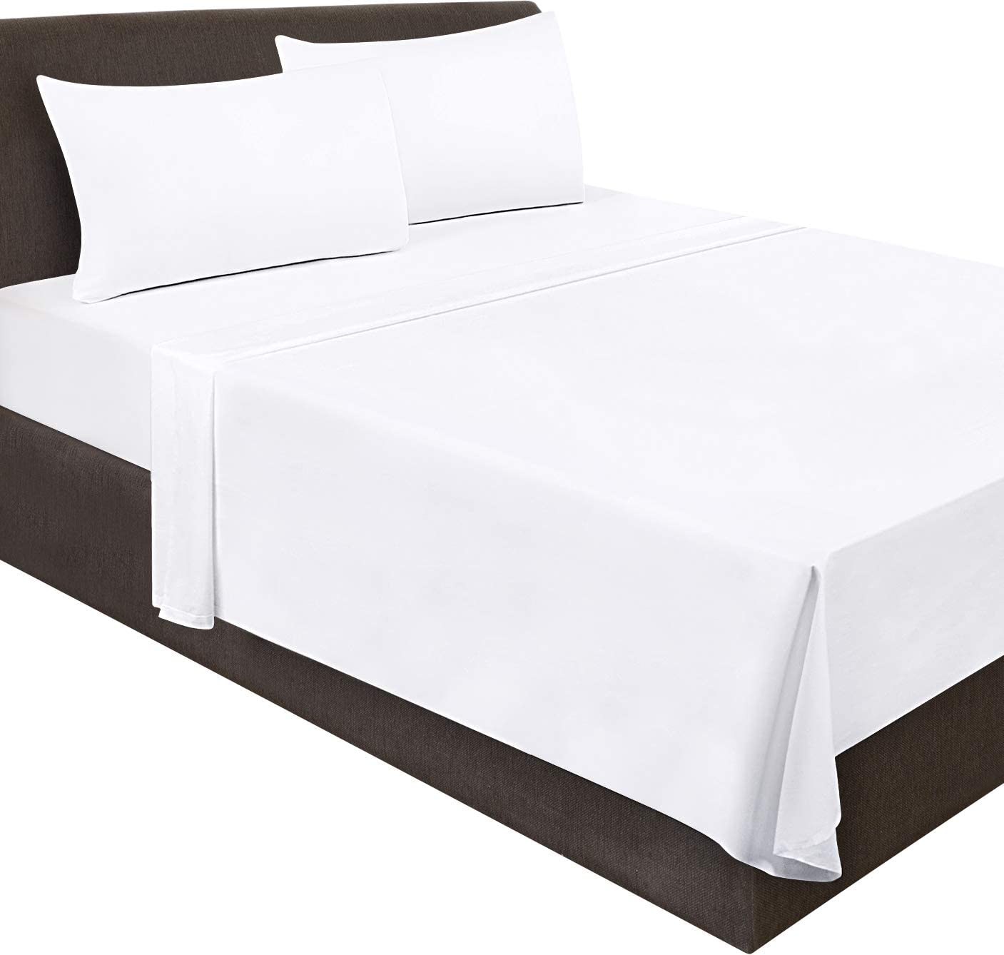 Utopia Bedding Flat Sheet- Soft Brushed Microfiber Fabric - Shrinkage & Fade Resistant Top Sheet - Easy Care - 1 Flat Sheet Only (Queen, White): Home & Kitchen