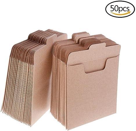 yooe 50pcs papel Kraft papel CD mangas CD fundas de papel, cartón, papel de estraza sobres