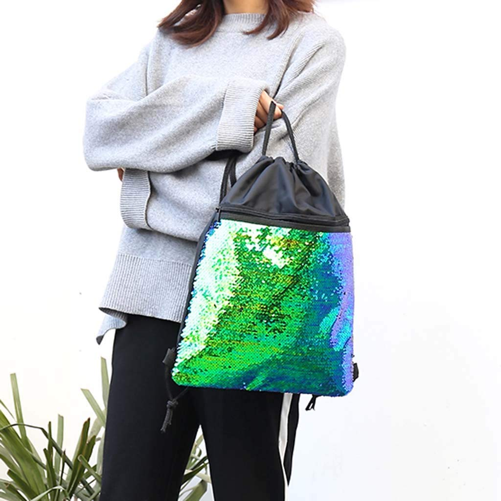 Beach Bag Outdoor Fitness Bag Sequins Bunch Pocket Female Drawstring Backpack Backpack for Women Men Waterproof by Letdown (Image #3)