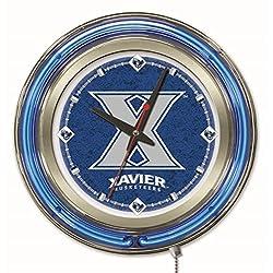 Holland Bar Stool Company NCAA Xavier Musketeers Double Neon Ring 15-Inch Diameter Logo Clock