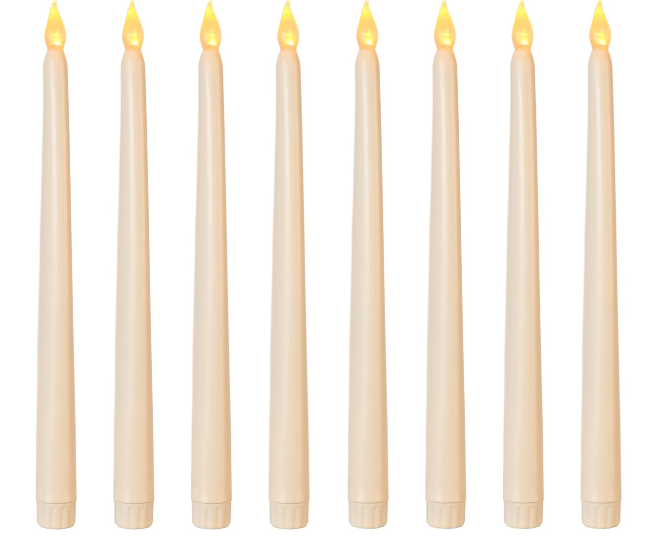 """Lily's Home Battery Operated Flameless LED Taper Candles, for Weddings, Candlelight Vigils, Hanukkah Menorahs, or Christmas Wreaths, Standard Size, Ivory (11"""" Tall, Set of 8)"""