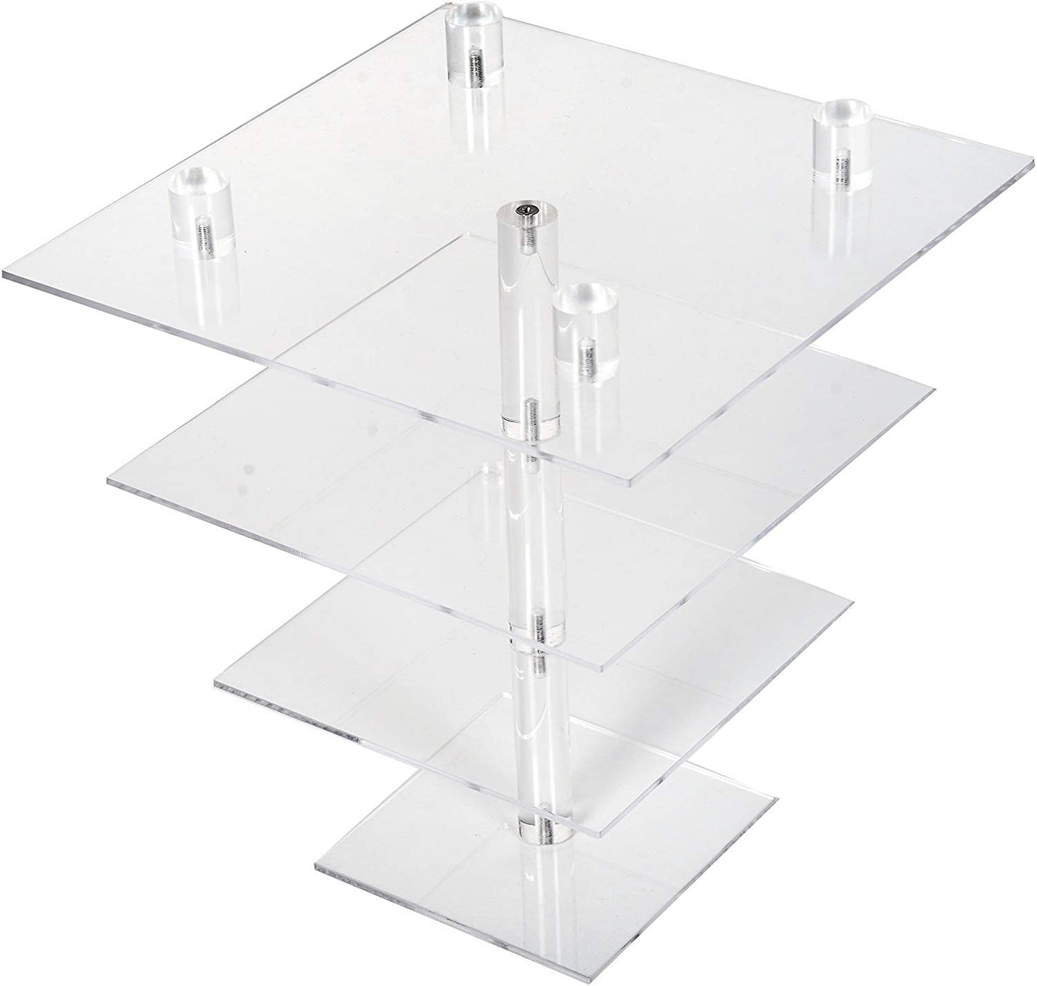 LoveDisplay Wedding Acrylic 4 Tiers Square Clear Cupcake Display Stand Dessert Cupcake Tower Stand with Base
