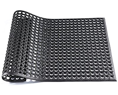 Hefty Mat Shock Absorption Rubber Matting for Machine Worktable,Swimming pool,School kitchen and other easy to slip area, Black,2 feet ×3 feet ×1/2 inch