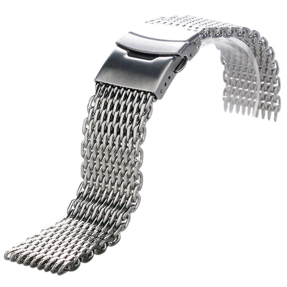 YISUYA Silver 22mm Band Stainless Steel Mesh Web Wrist Watch Band Strap Bracelet Mens Womens by YISUYA