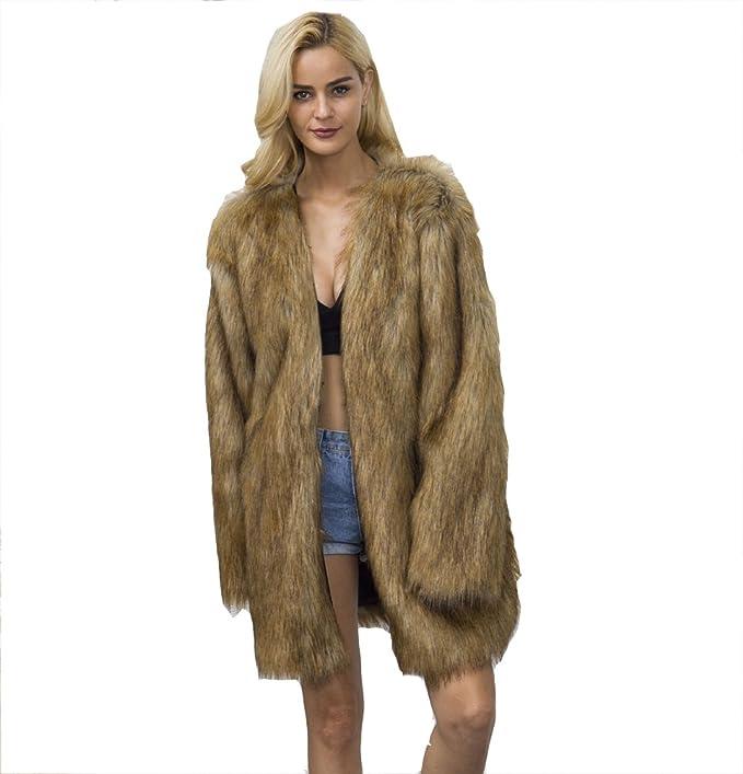 YuanDian Mujer Otoño Invierno Casual Medio Largo Cuello V Baggy Cálido Suave Abrigos De Pelo Imitacion Piel Sintetica Chaquetas Parka Outwear: Amazon.es: ...