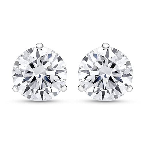 1 4 Carat Solitaire Diamond Stud Earrings Round Brilliant Shape 3 Prong Push Back H-I Color, VS1-VS2 Clarity