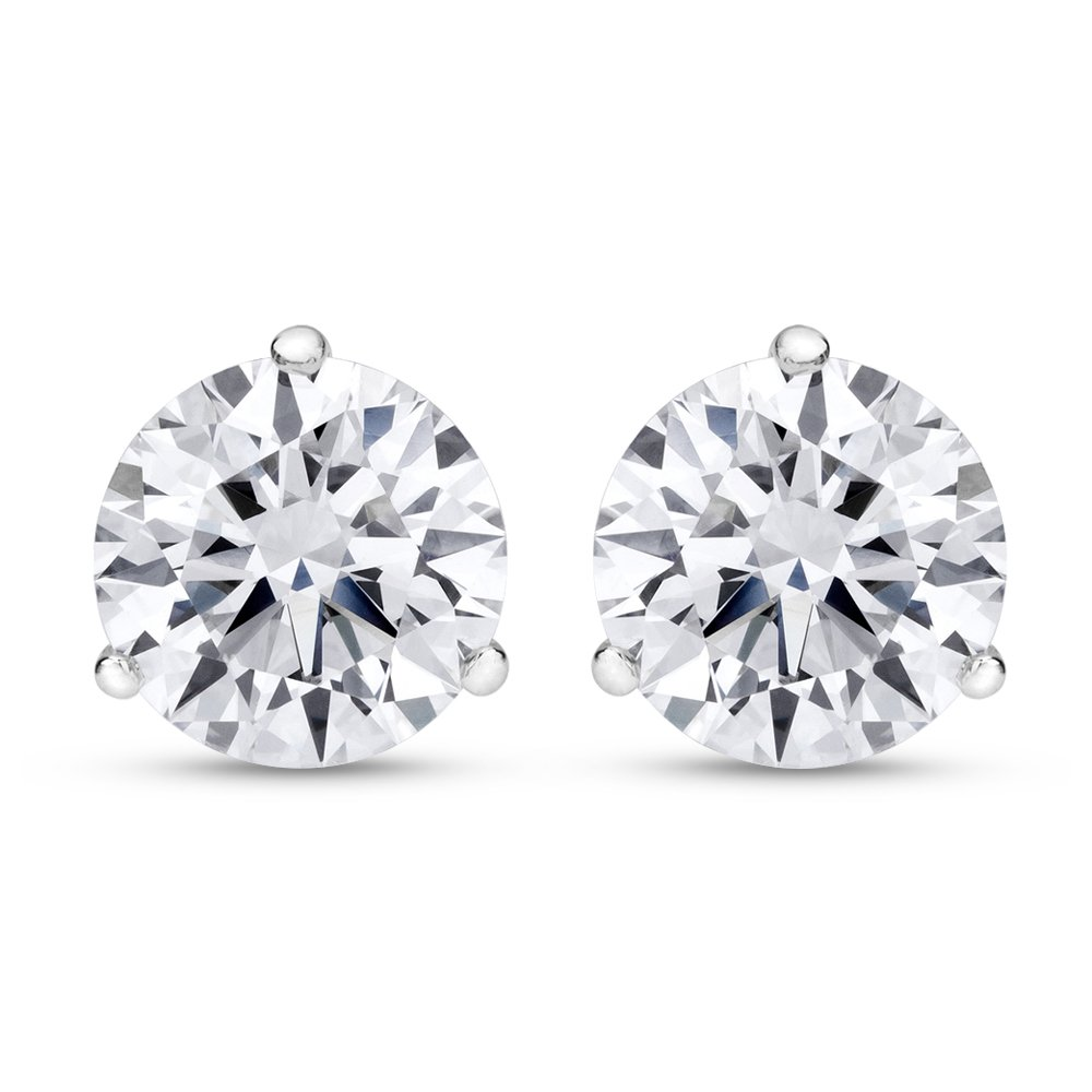 2 Carat Total Weight White Round Diamond Solitaire Stud Earrings Pair set in 14K White Gold 3 Prong Push Back (H-I Color VS1-VS2 Clarity)