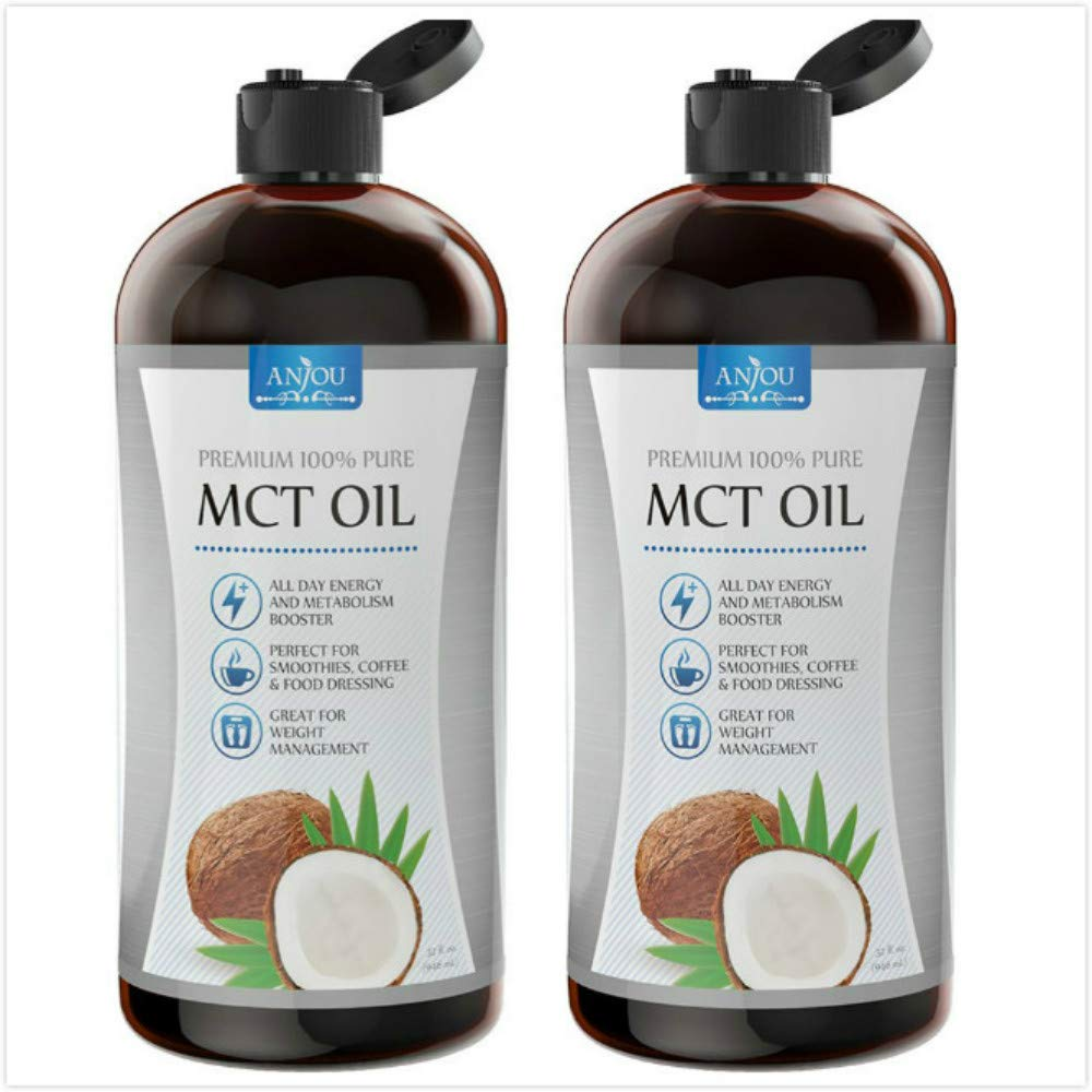 [2-Pack] Anjou Premium MCT Oil 32 fl.oz, C8 C10 Derived from Non-GMO Coconut Oil, Keto Friendly and Paleo Diet Approved, BPA-Free Bottle by Anjou