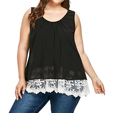2986fd26c9d Inverlee Women Plus Size Sexy Chiffon Floral Flower Lace Sleeveless Vest  Casual Summer Tank Tops Tee