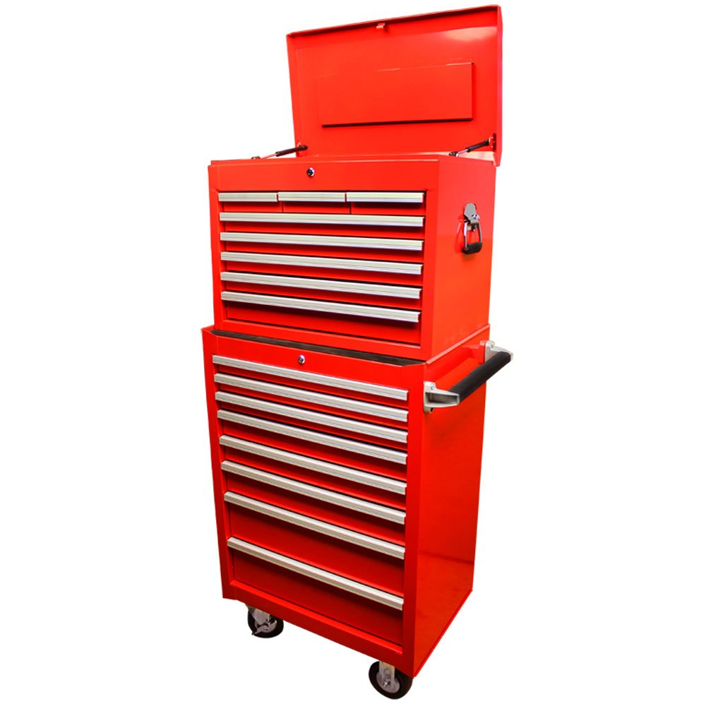26'' Industrial Roller Cabinet Box Set 16 Drawers All Steel Tool Storage Case