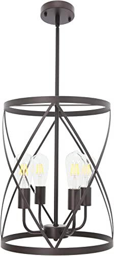 ELUZE Industrial Chandelier Light Fixture,4-Light Cylinder Metal Shade