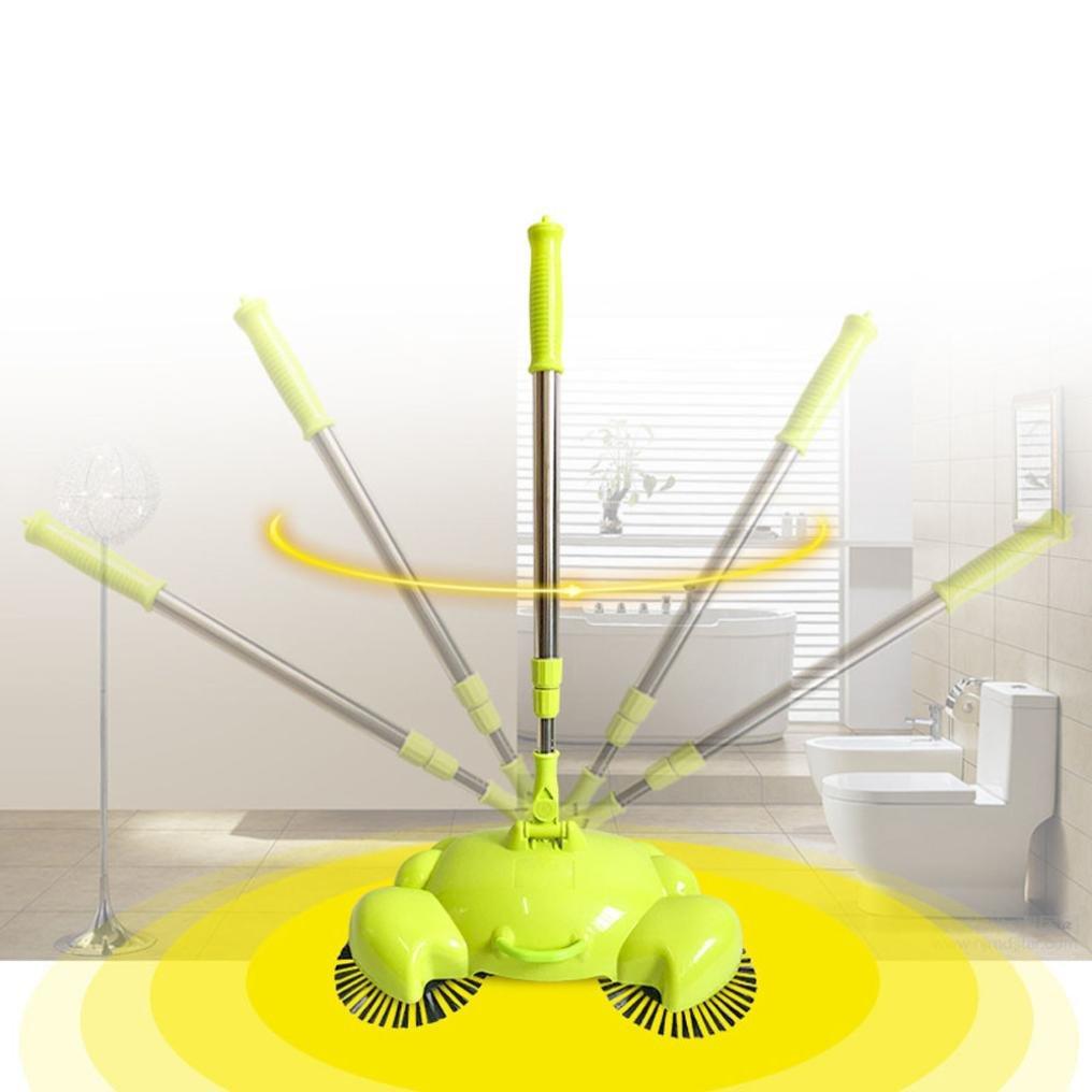 Sikye Household Cleaner Adjustable Handle Lightweight Push Sweeper For Carpets & Floors (Green)