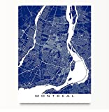 Montreal Art Map, Quebec Canada, City Wall Artwork Print, Street Lines