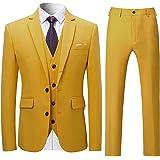 Cloudstyle Mens Stylish 3 Piece Dress Suit Classic Fit Wedding Formal Jacket & Vest & Pants