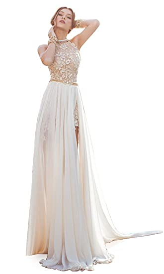 9e0018326ce Babyonline Damen Abendkleider Lang Perlstickerei Spitze Chiffon Neckholder  Crystal Brautkleider Lang Ballkleider Lang  Amazon.de  Bekleidung