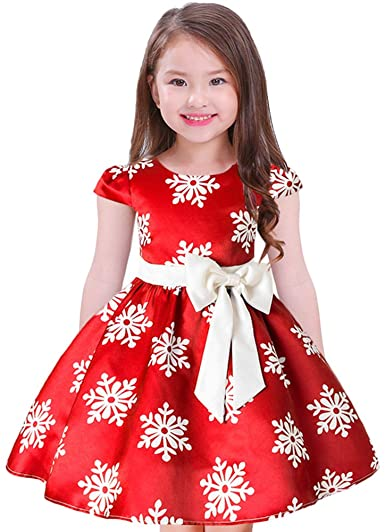 Baby Kid Girl Casual Christmas Dress Party 3//4 Sleeve Princess Dresses Xmas Gown