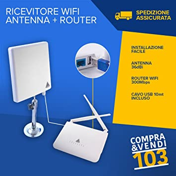 Compraevendi103 RECEPTOR ROUTER ANTENA WI-FI EXTERIOR 36DBI ...