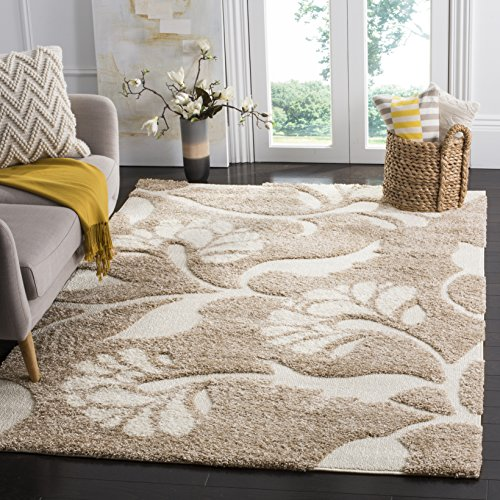 Safavieh Florida Shag Collection SG459-1311 Beige and Cream Area Rug (5'3