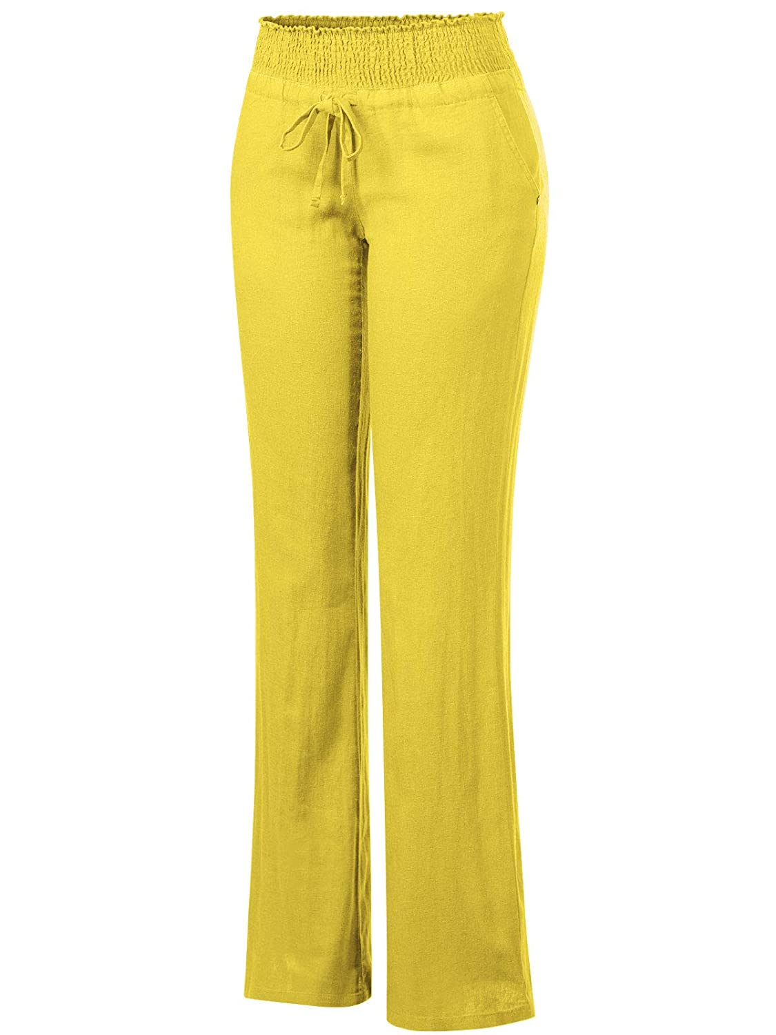 Design by Olivia Womens Comfy Drawstring Elastic Waist Linen Pants with Pocket