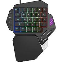 NPET One-Handed Mechanical Feel Gaming Keypad 33 Fully Programmable Keys, T10 Wired LED Backlight Palm-Rest E-Sport Gamer Keyboard, Pro Keyboard Computer/PC/Desktop/Laptop