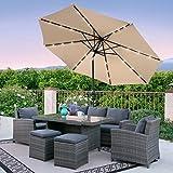 Best Choice Products 10' Deluxe Solar LED Lighted Patio Umbrella w/ Tilt Adjustment (Light Beige)