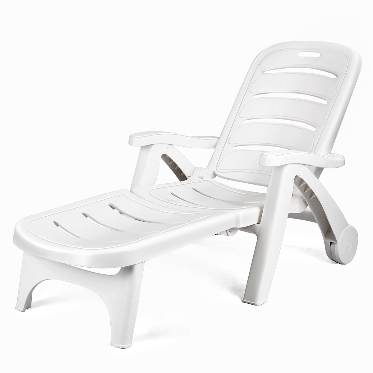 Giantex Folding Lounger Chaise Chair on Wheels Outdoor Patio Deck Chair Adjustable Rolling Lounger 5 Position Recliner w/Armrests, White by Giantex