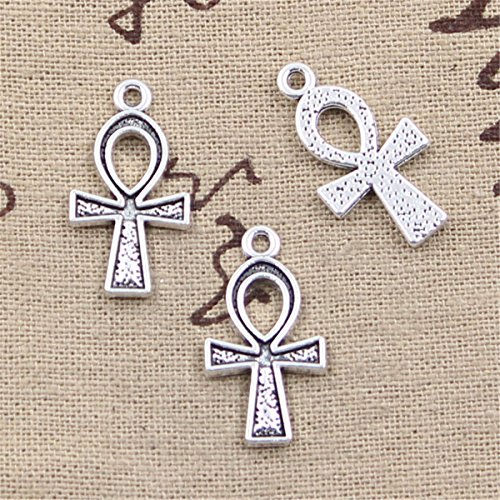 Egyptian Cross Charm - 30pcs Charms cross egyptian ankh symbol Antique Silver Charms Pendants for Making Bracelet Necklace Jewelry Findings Jewelry Making Accessory 25x14mm