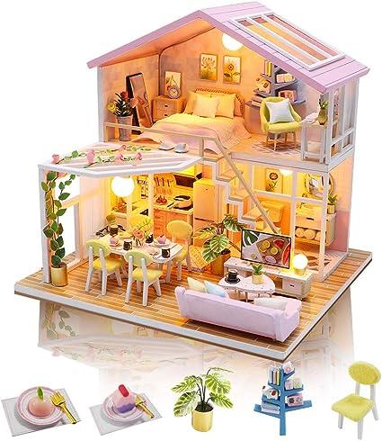 Handmade DIY Dollhouse With Tool Kits 3D Scale Miniature LED Lights Kids Room