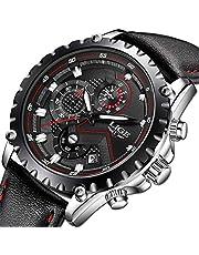 LIGE Relojes Hombre Azul Negocio Cuarzo Relojes Moda Impermeable Negro Cuero Relojes Militar Deportes Cronógrafo Relojes