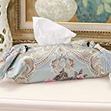 DHG High-End Fabric European Tissue Box Simple Car Car Book Box Creative Home Living Room Tissue Cover,Light blue,Average code