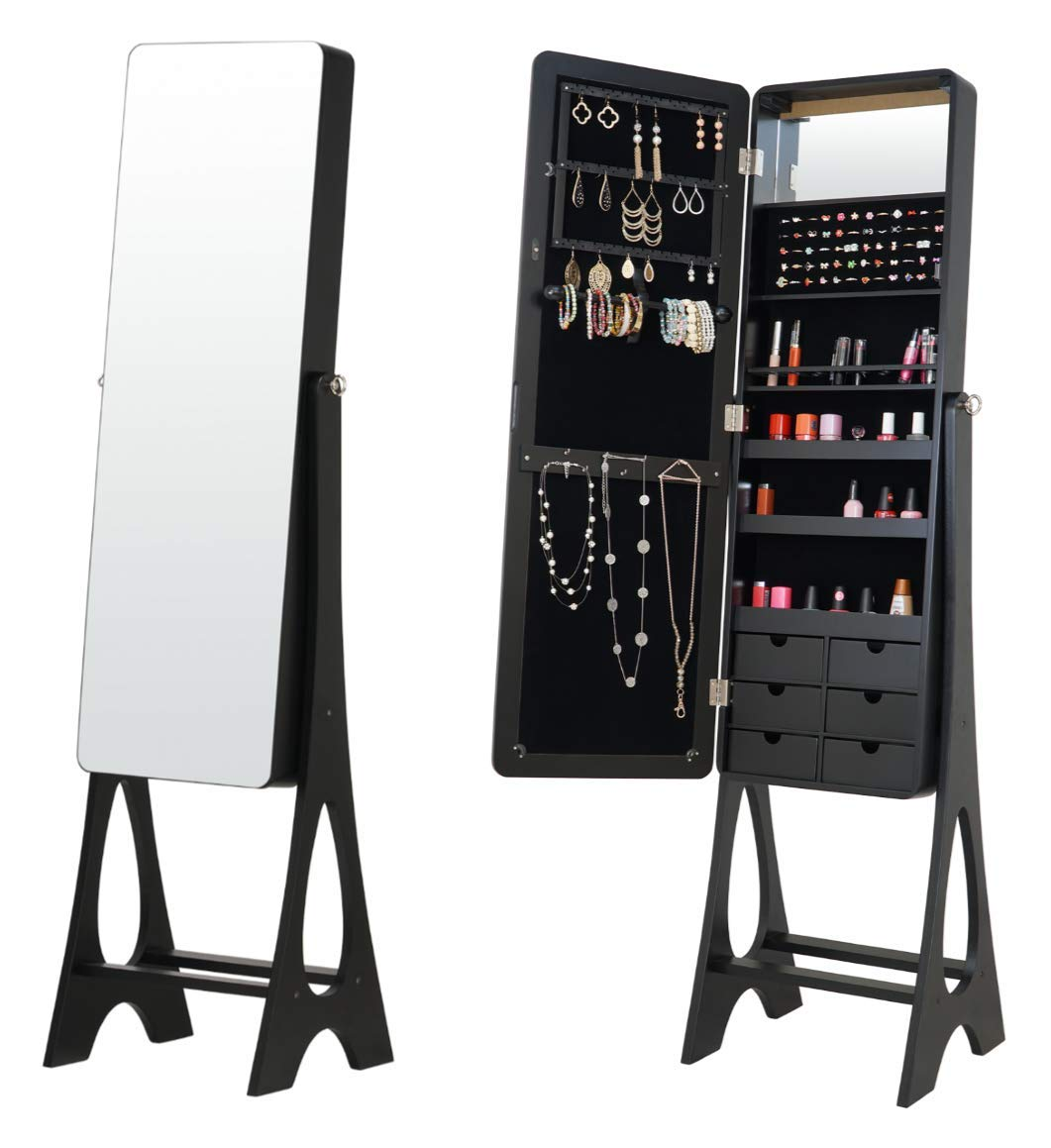 Fineboard FB-JC07-BK LED Jewelry Cabinet Organizer with Mirror and 6 Drawers, Black by Fineboard