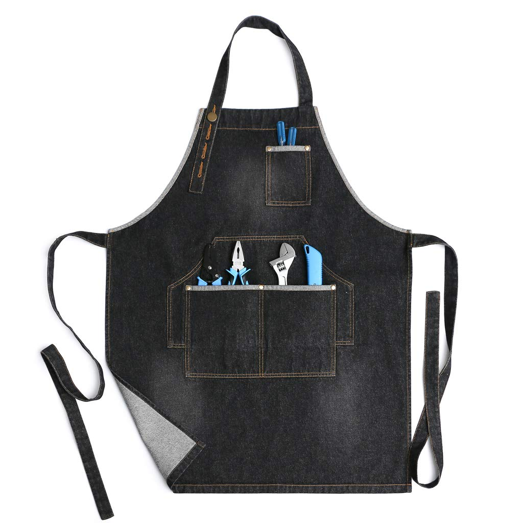 Jeanerlor Heavy Duty Work Aprons for Men and Women Denim Apron with 3 Tool Pockets, Size M to XXL & 100% Cotton (Black) Jean Aprons for Hairdresser Plus Size