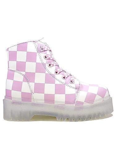 a69c4f16d6cc Y.R.U. YRU Womens SLAYR Pink and White Checker Punk Platform Boots
