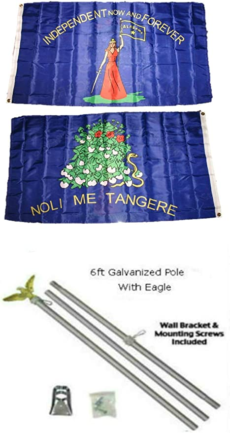 3x5 USA American /& State of Oregon Flag Galvanized Pole Kit Top 3/'x5/'